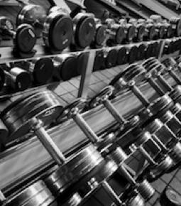 Haltères pour musculation de caoutchouc, chromés & hexagonales